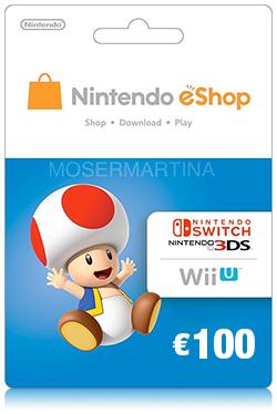 Nintendo Wii U/3DS eShop Prepaid Card 100 EURO- EU
