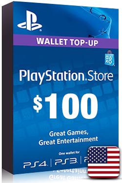 PlayStation Network Card PSN Key 100 Dollar [ US ]