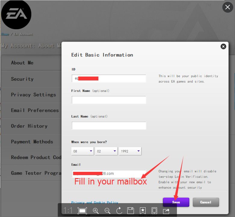 HOW TO UPDATE EA ACCOUNT INFORMATION